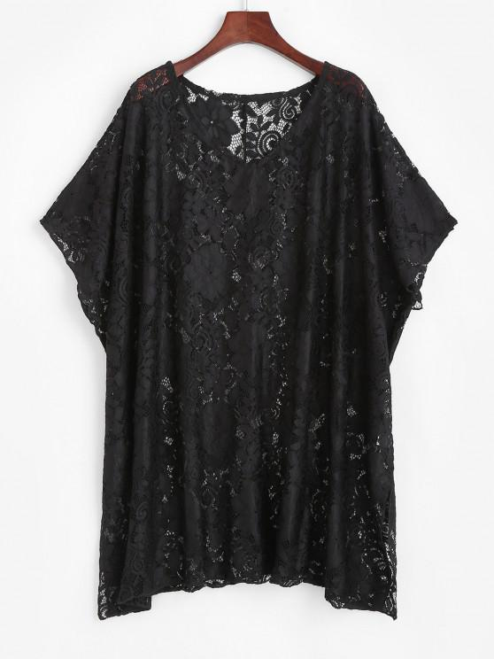 Lace Sheer Oversized Tunic Cover Up Dress - أسود حجم واحد