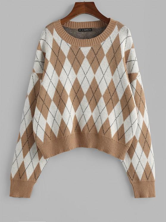 shop ZAFUL Argyle Drop Shoulder Oversized Sweater - DEEP YELLOW S