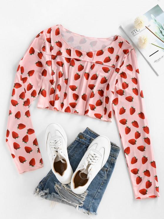 outfit ZAFUL Long Sleeve 3D Strawberry Print Pintuck Tee - LIGHT PINK XL