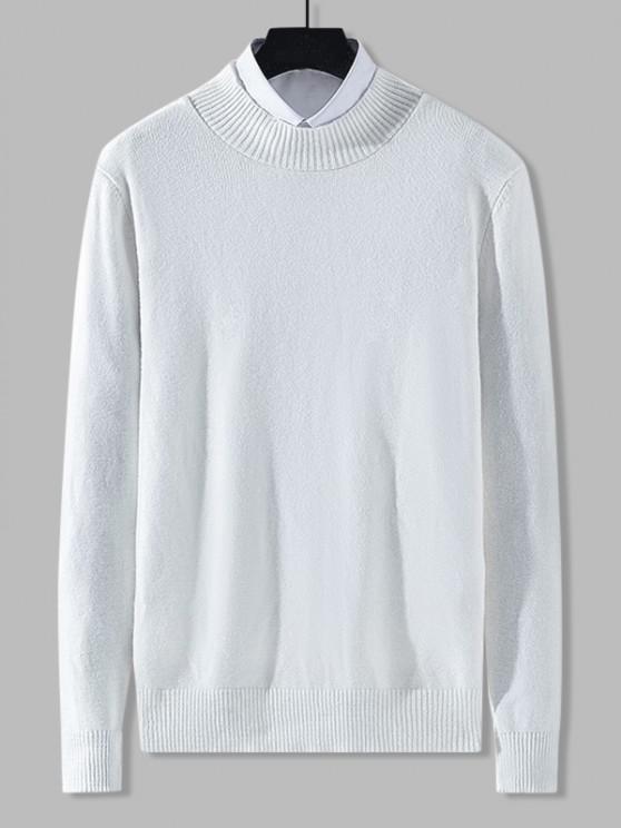 Stehkragen Einfarbiger Knit Sweatshirt - Weiß XS