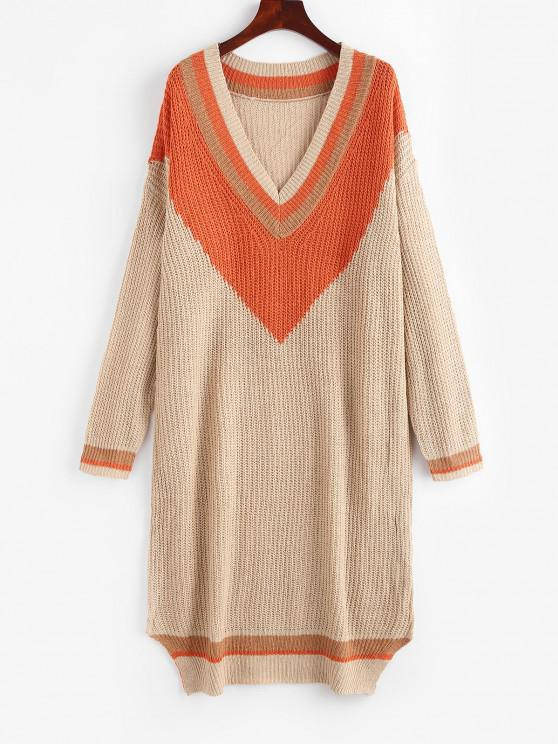affordable Colorblock Cricket Sweater Dress - LIGHT COFFEE L