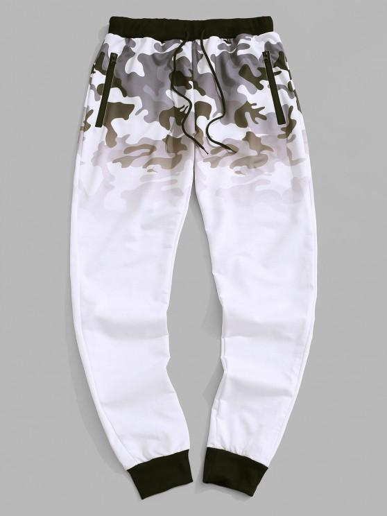 Camouflage Ombre Print Beam Feet Pants - أبيض L