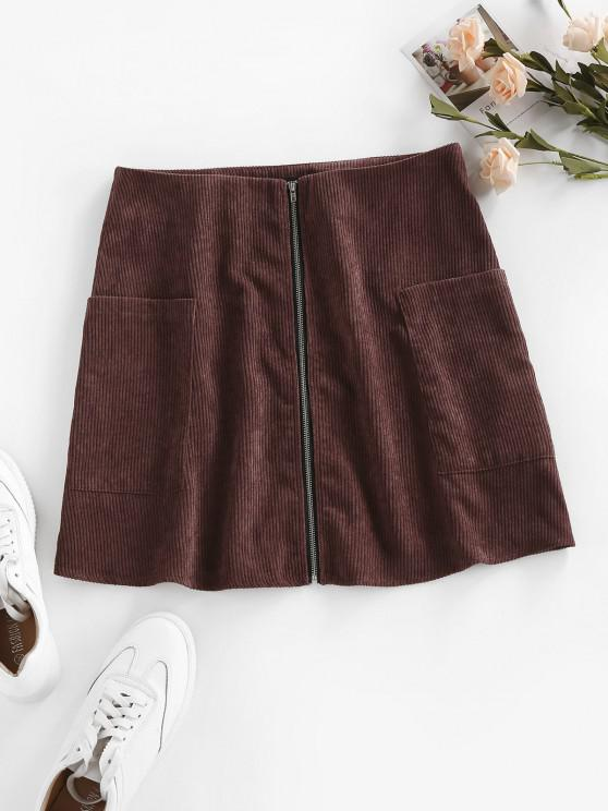 womens ZAFUL Corduroy Zip Fly Mini Skirt - DEEP COFFEE L