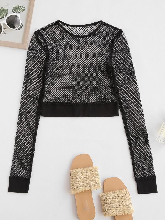 outfit Solid Fishnet Cropped Top - BLACK L
