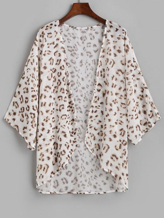 Saída de Praia Estilo Kimono de Chiffon Leopardo - Branco M