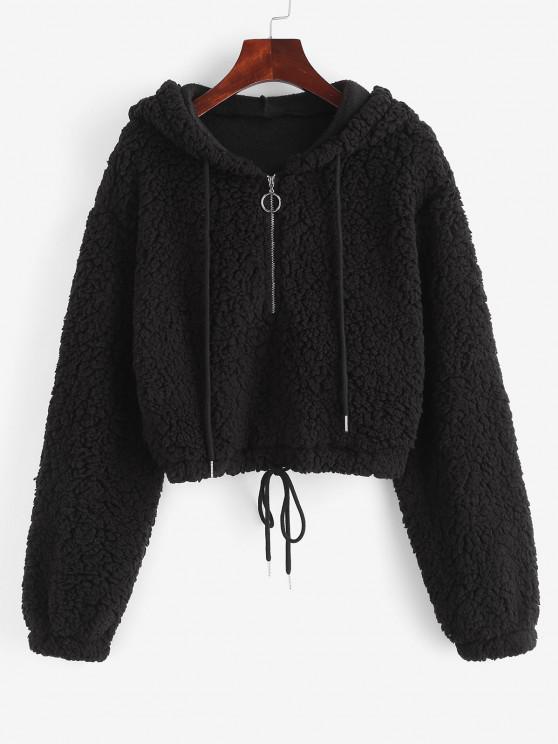 sale ZAFUL Drawstring Half Zip Drop Shoulder Teddy Hoodie - BLACK S