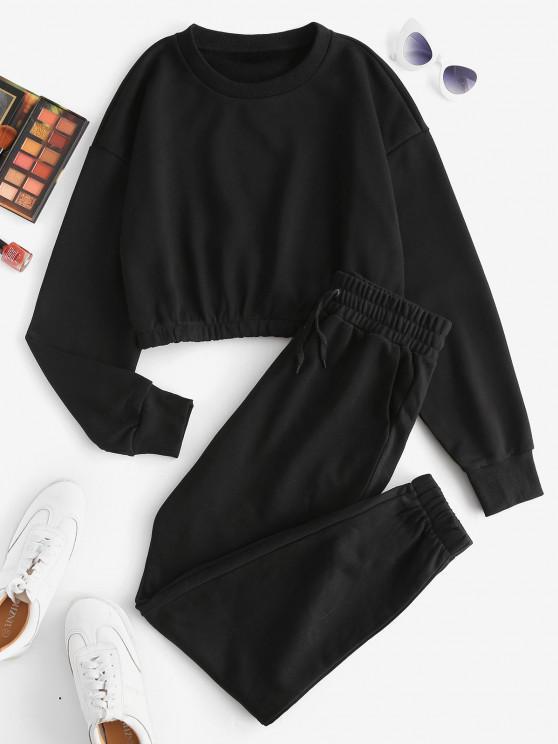 fashion Plain Cropped Pockets Two Piece Sweat Suit - BLACK L