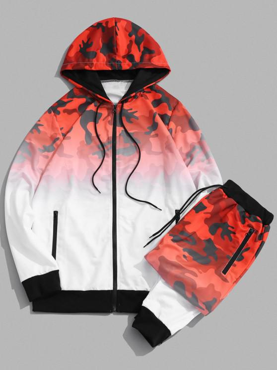 women's Camouflage Ombre Print Two Piece Set - RED XS