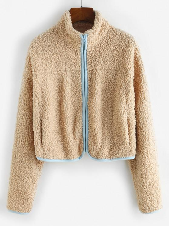 trendy ZAFUL Zip Up Contrast Piping Pockets Teddy Coat - LIGHT COFFEE M