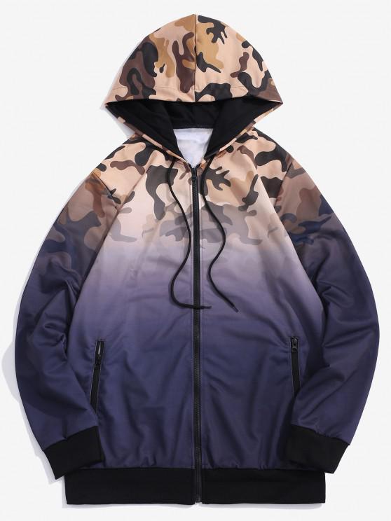 Veste à Capuche Camouflage Ombrée Imprimé - Pourpre  L