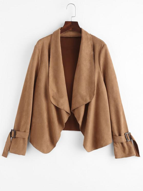 new Faux Suede Open Front Buckle Cuff Coat - COFFEE S