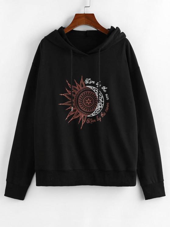 women ZAFUL Sun Moon Slogan Print Drop Shoulder Hoodie - BLACK L