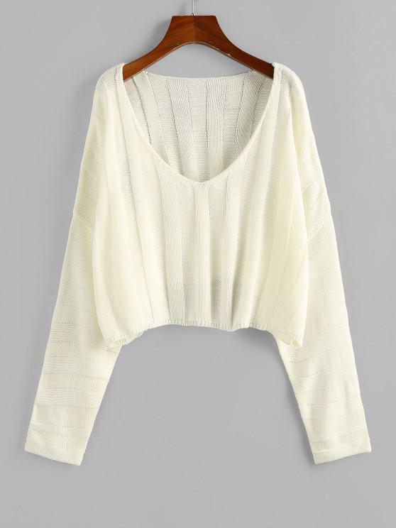 womens ZAFUL Plunging Drop Shoulder Oversized Crop Sweater - LIGHT YELLOW M