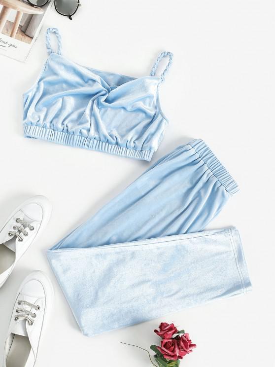 trendy ZAFUL Braided Straps Velvet Cropped Two Piece Set - LIGHT BLUE M