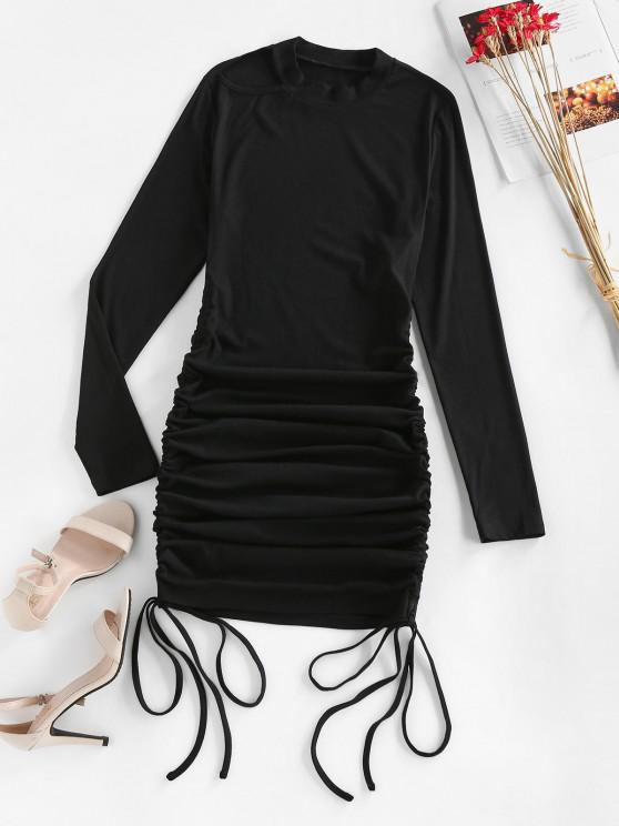 ZAFUL Ribbed Cutout Cinched Bodycon Dress - أسود S