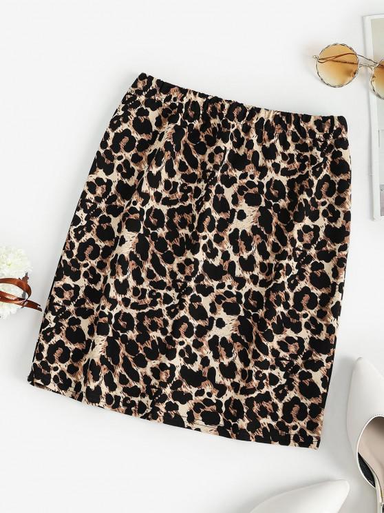 women's Leopard High Waisted Bodycon Skirt - BROWN M