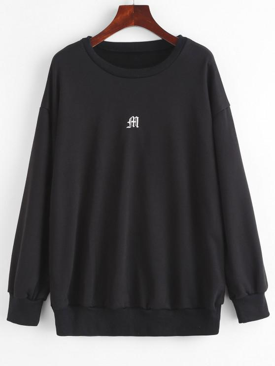 best Drop Shoulder M Embroidered Pullover Sweatshirt - BLACK M