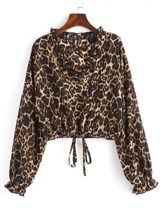 Ruffle Leopard Drop Shoulder Crop Blouse - قهوة L