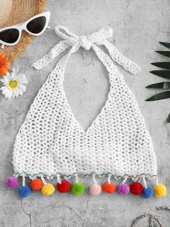 outfits Halter Openwork Crochet Pompom Crop Beach Top - WHITE ONE SIZE