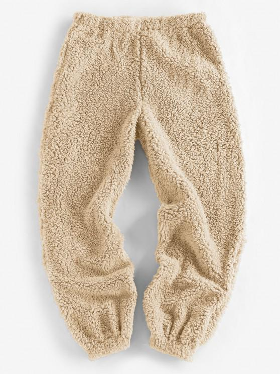 fancy ZAFUL Faux Fur Elastic Cuffs Pull-on Pants - LIGHT KHAKI S