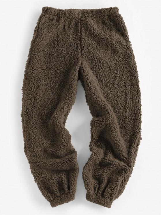 best ZAFUL Faux Fur Elastic Cuffs Pull-on Pants - DEEP COFFEE L