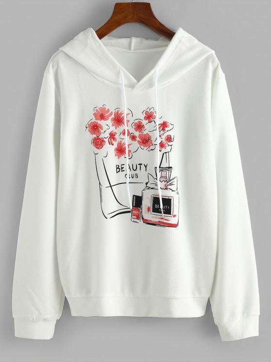 Drawstring Floral Beauty Club Hoodie - أبيض XL