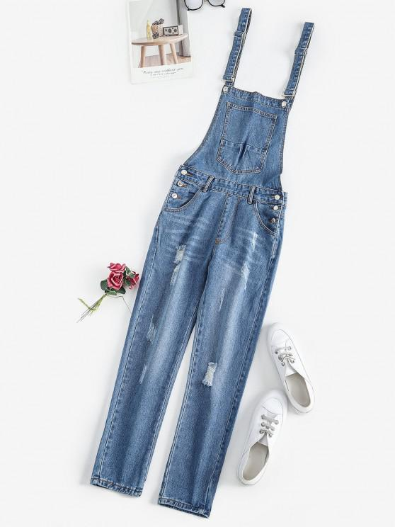 unique Distressed Pocket Dungaree - BLUE M