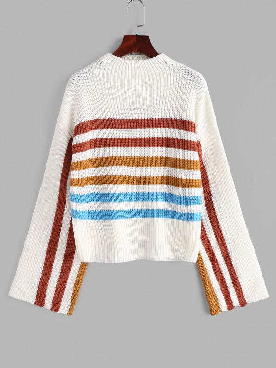 sale Mock Neck Striped Sweater - WHITE M