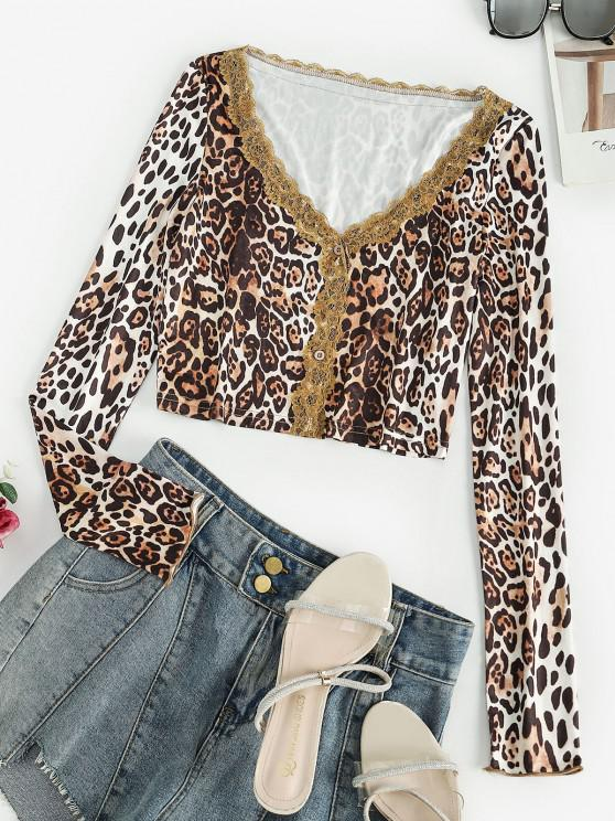 hot Button Up Lace Trim Leopard Tee - SEPIA M