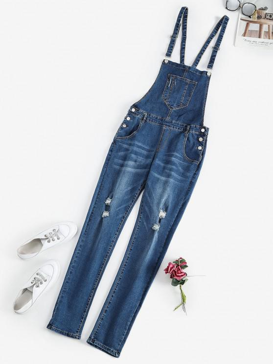 women's Pocket Ripped Skinny Dungaree - DEEP BLUE S