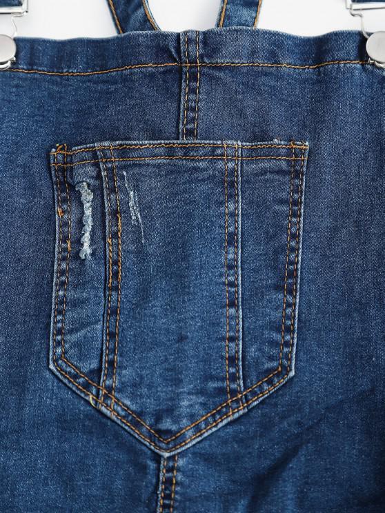 Pocket Ripped Skinny Dungaree - Deep Blue S | ZAFUL