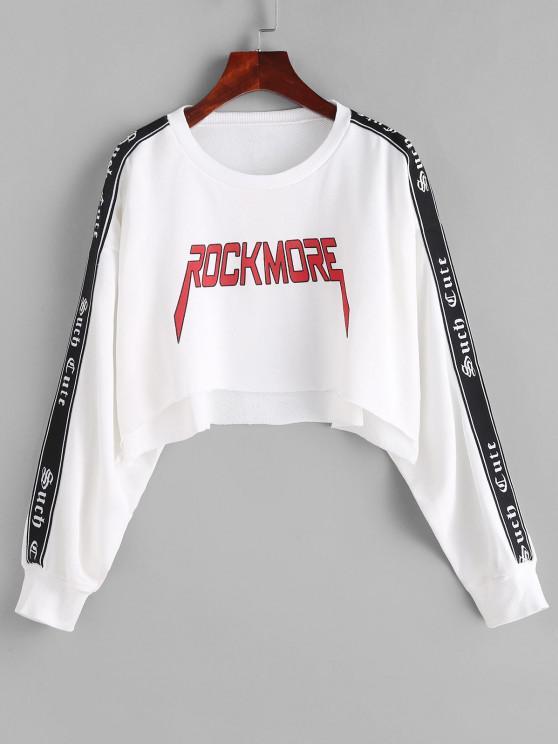 shop Letter Drop Shoulder High Low Crop Sweatshirt - WHITE M