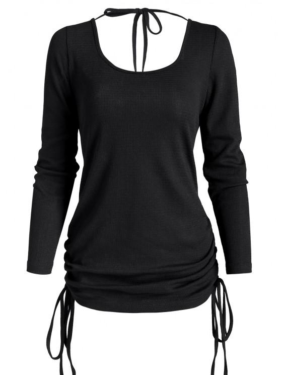 sale Cinched Side Tie Open Back Tunic Top - BLACK L