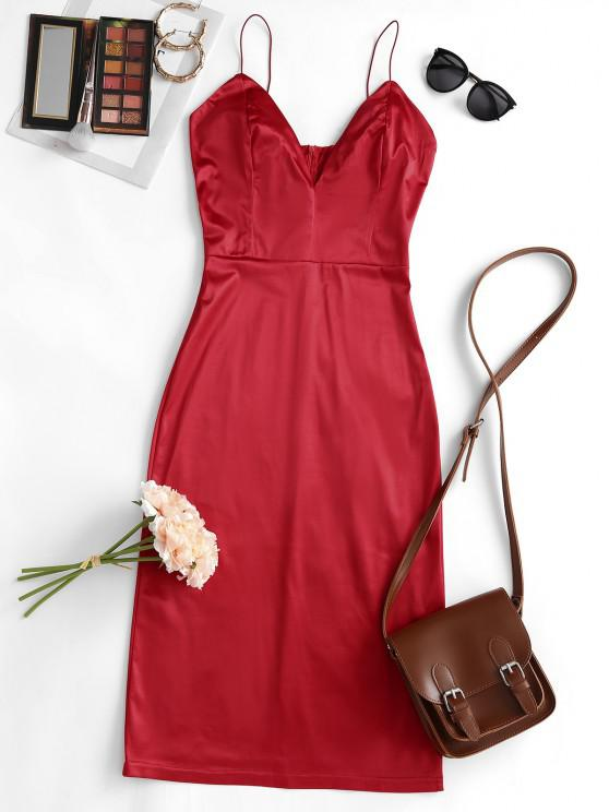 shop Satin Bodycon Cocktail Cami Dress - RED S