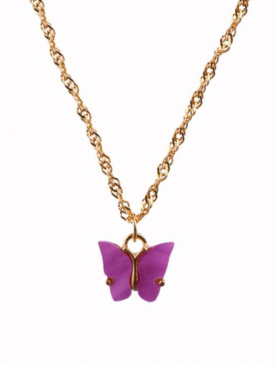 Acrylic Butterfly Chain Necklace - بشع الوردي
