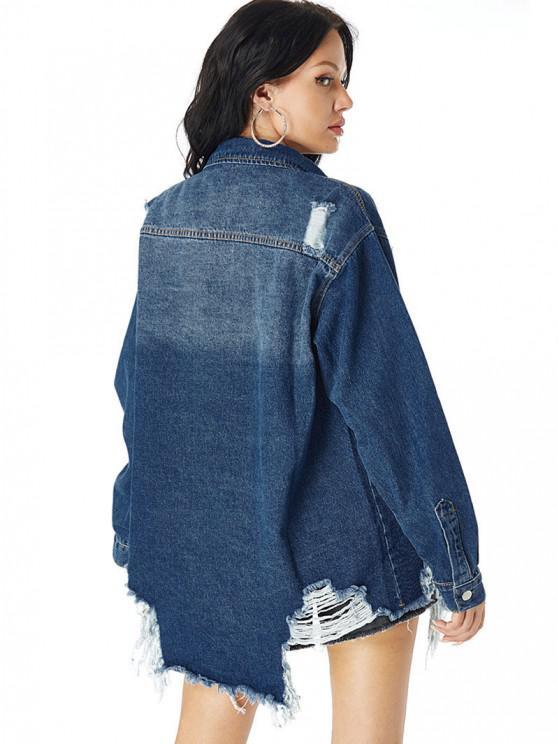 Distressed Pocket Drop Shoulder Long Denim Coat - Blue S | ZAFUL