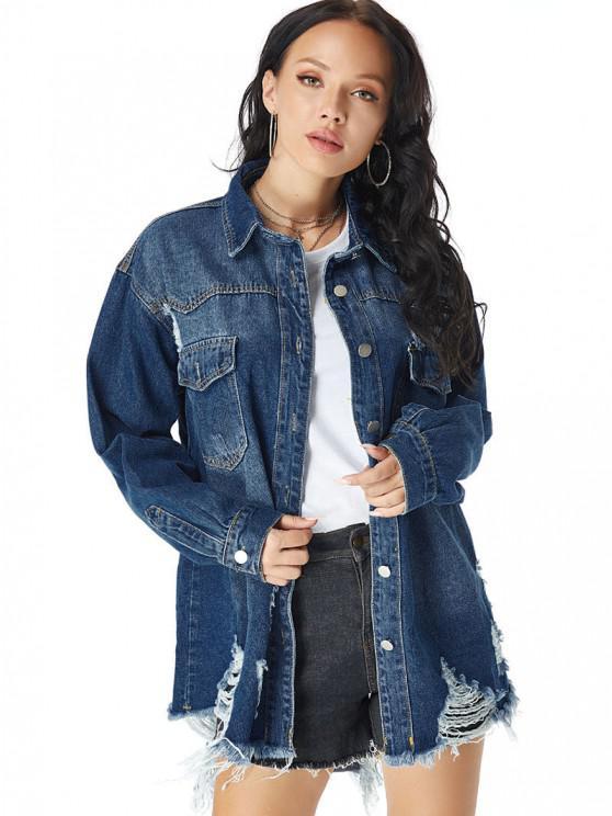 Distressed Pocket Drop Shoulder Long Denim Coat - أزرق XS