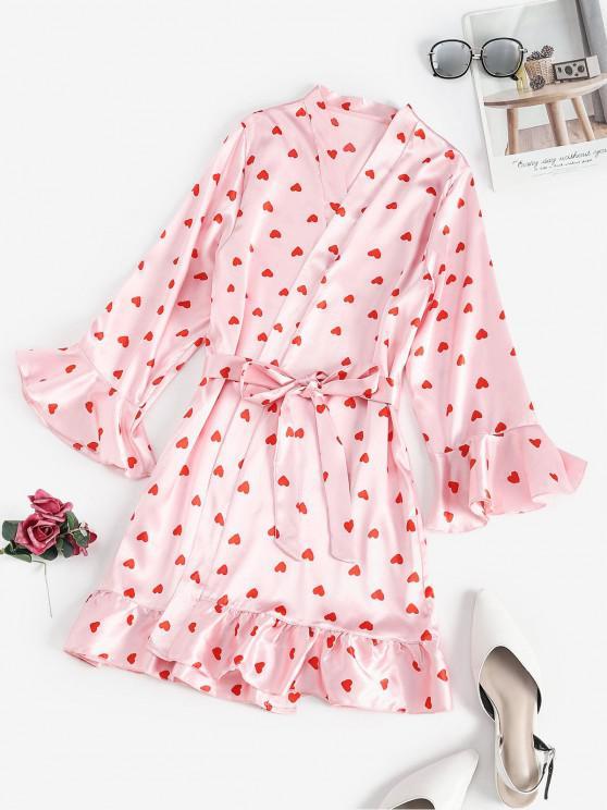 lady Belted Ruffled Hem Heart Sleep Robe - PINK M