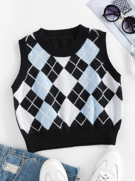 latest ZAFUL Argyle Rib Trim Crop Sweater Vest - BLACK L