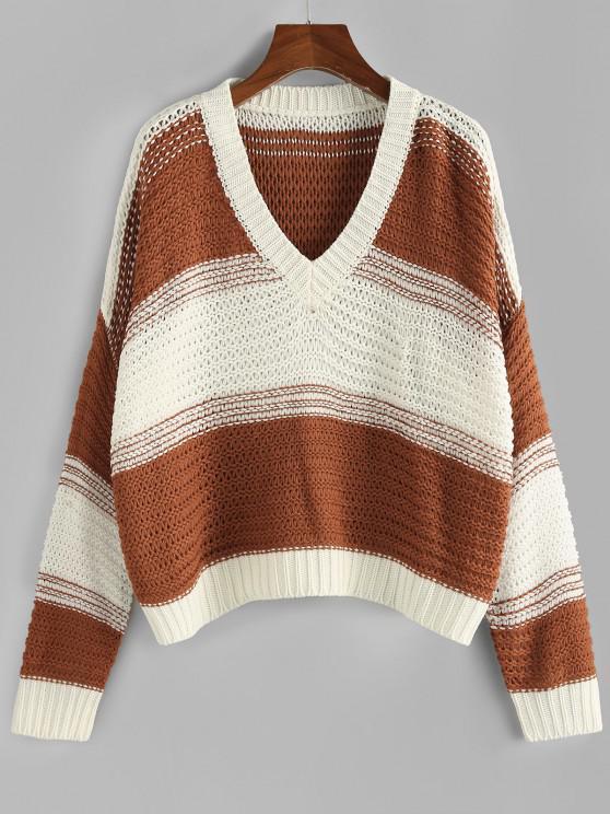 ZAFUL Colorblock V Neck Drop Shoulder Oversized Sweater - قهوة L
