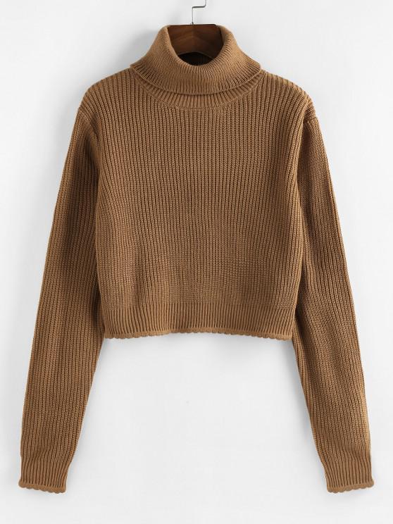 new ZAFUL Turtleneck Scalloped Hem Crop Sweater - COFFEE M
