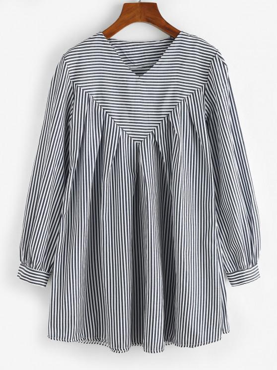 fancy Contrast Stripes Long Sleeve Tunic Dress - DEEP BLUE L