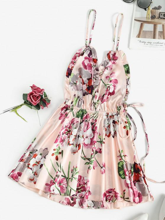 Robe de Nuit Florale Croisée Nouée au Dos - Rose  S
