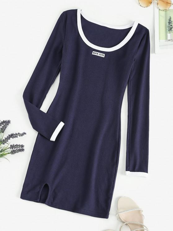 trendy Contrast Binding Notched Ribbed Long Sleeve Dress - DARK SLATE BLUE M