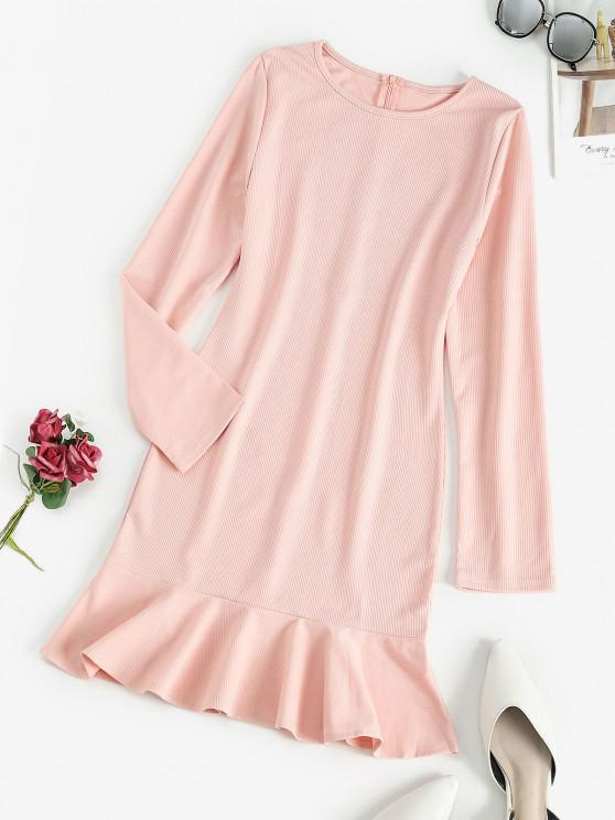 Ribbed Ruffled Hem Long Sleeve Mini Dress - زهري L