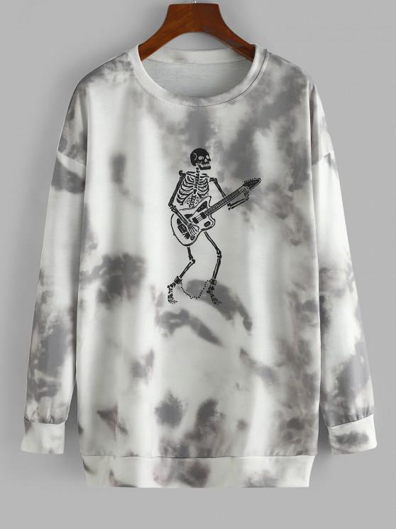 Moletom do Halloween com Ombro Caído de Esqueleto - Castanho Cinza S