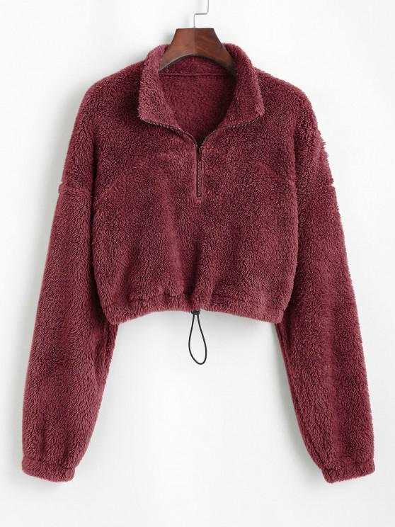 shop ZAFUL Half Zip Plush Cropped Sweatshirt - RED WINE M