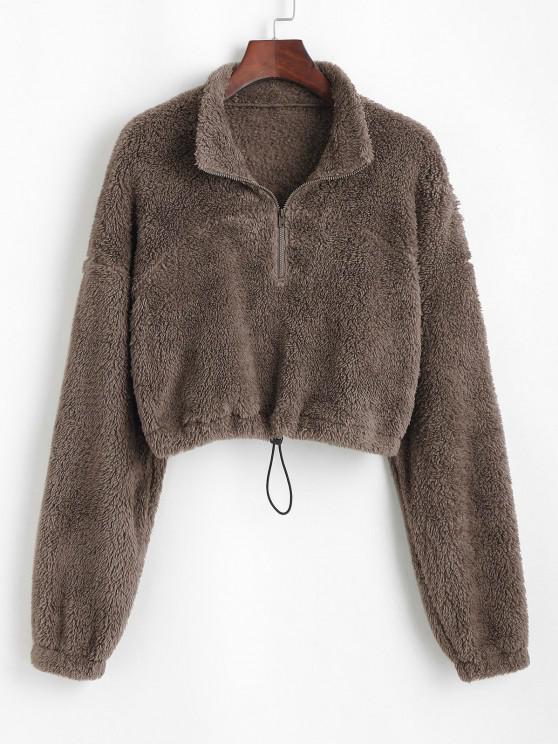 new ZAFUL Half Zip Plush Cropped Sweatshirt - DEEP COFFEE M