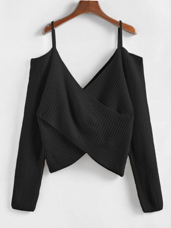 ZAFUL Overlap Cold Shoulder Jumper Sweater - أسود L