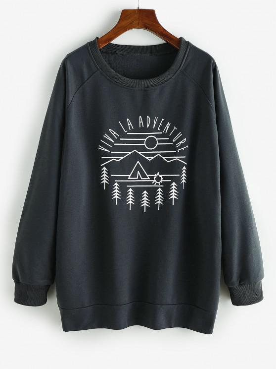 latest Raglan Sleeve VIVA LA ADVENTURE Graphic Sweatshirt - DARK GRAY S